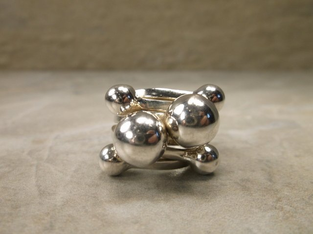 Stunning Heavy Sterling Silver Ball Ring 6