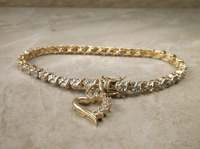 """Gorg Gold Over Sterling Gen Diamond Bracelet 7.5"""""""