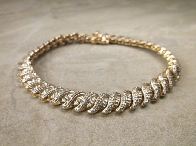 """Gorg Heavy Gold Over Sterling Gen Diamond Bracelet 7.5"""""""