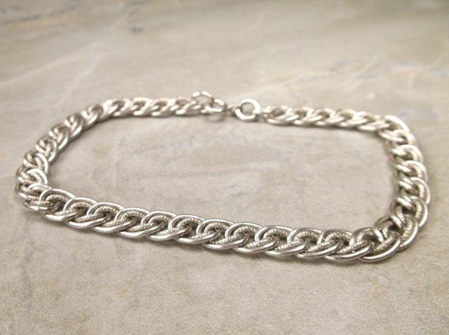 "Gorg Heavy Sterling Silver Bracelet 7.5"" Vintage"