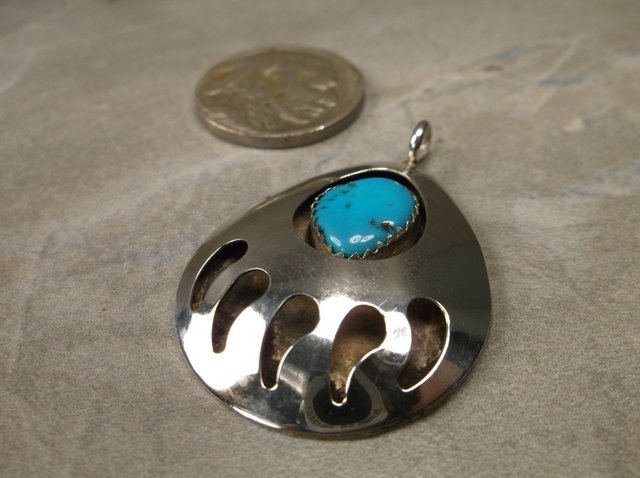 Gorg Large Sterling Navajo Turquoise Pendant Paw