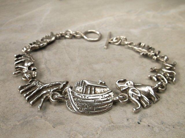 """Gorg Very Heavy Sterling Noahs Ark Bracelet 8"""""""