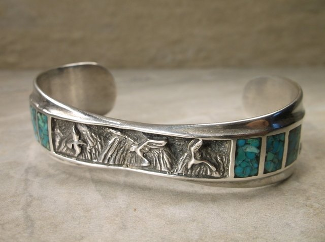 Stunn Sup Heavy Navajo Sterling Turquoise Cuff Bracelet