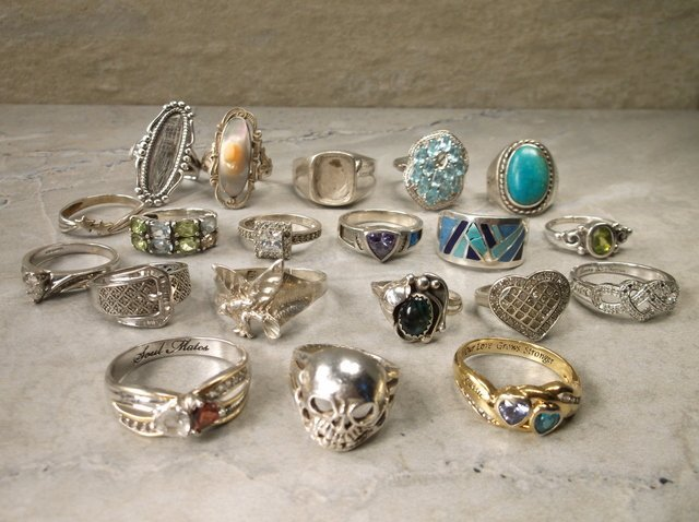 20 Sterling Silver Ring Lot Diamond Turquoise Etc 105g