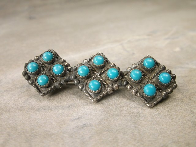 Gorgeous Old Pawn Sterling Silver Turquoise Brooch