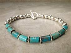 Gorgeous Heavy Sterling Silver Turquoise Bracelet 8