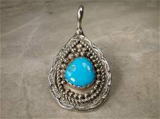 Gorgeous Huge Navajo Sterling Turquoise Pendant