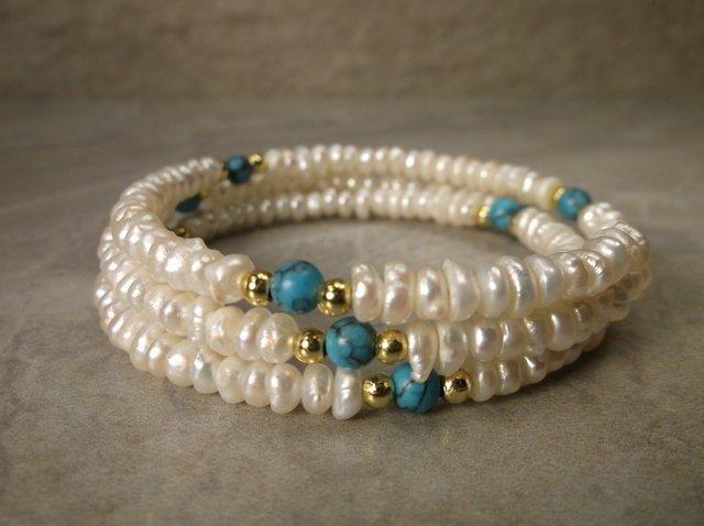 Gorg Sterling Turquoise Genuine Pearl Bracelet