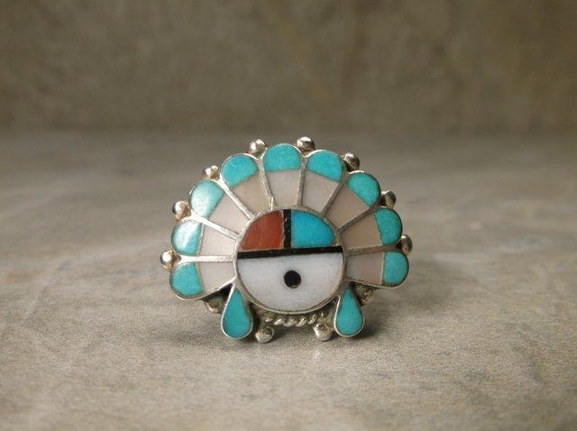 Stunning Zuni Sterling Head Dress Inlay Ring 8.5