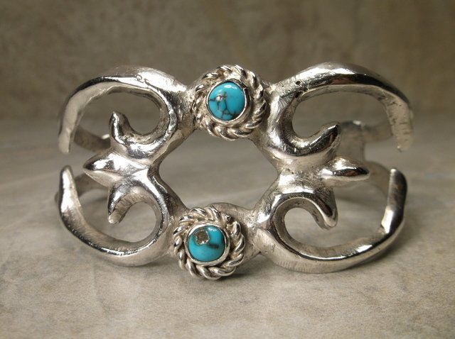 Gorgeous Old Pawn Sterling Turquoise Cuff Bracelet