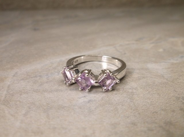 New Sterling Silver Genuine Amethyst Ring 6
