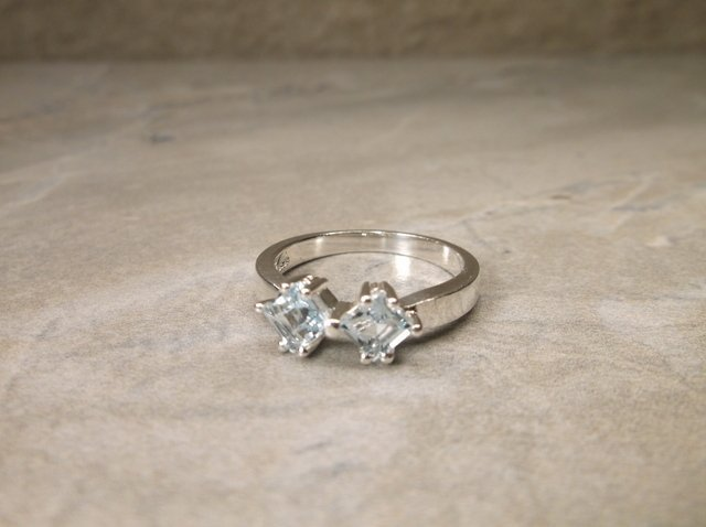 New Sterling Genuine Aquamarine Ring 6