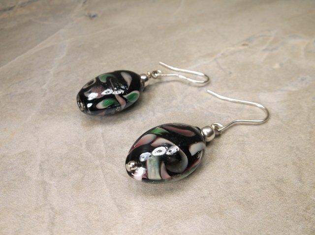 Gorgeous Sterling Silver Art Glass Earrings