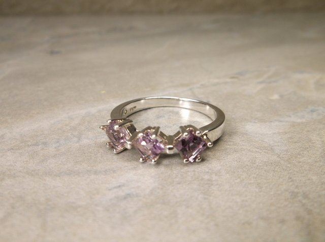 New Sterling Genuine Amethyst Ring 7.5