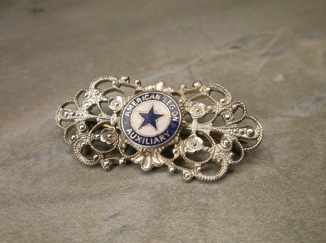 Gorgeous Antique Sterling American Legion Brooch