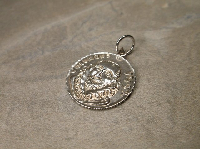 Gorgeous Sterling Christopher Columbus Coin Pendant