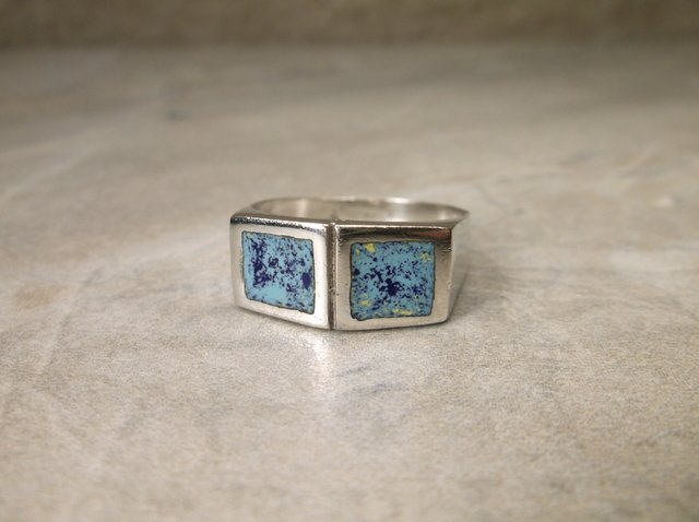 Gorgeous Sterling Silver Blue Stone Ring 8