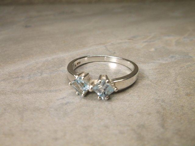 New Sterling Genuine Aquamarine Ring 9