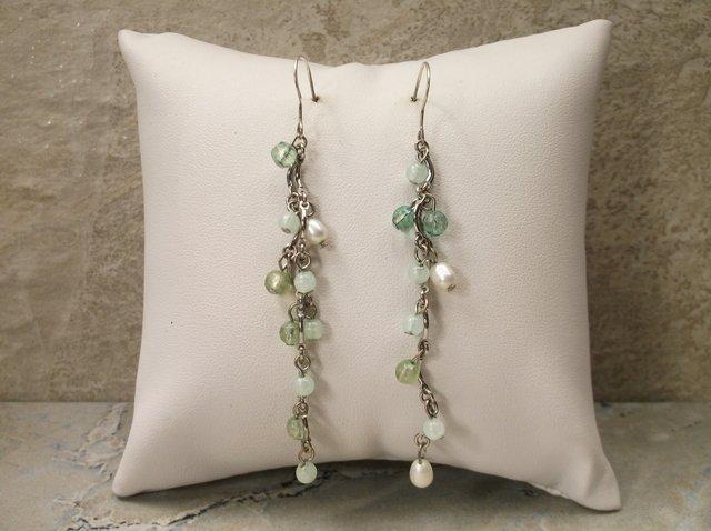 Gorgeous Sterling Silver Dangly Pearl Earrings