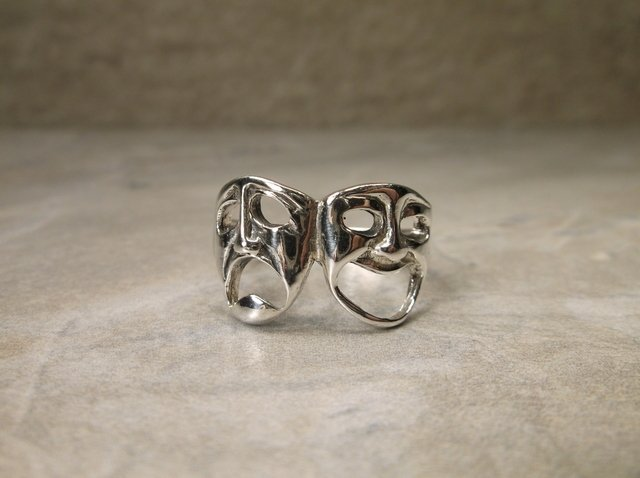 New Sterling Comedy Tragedy Mask Ring 10