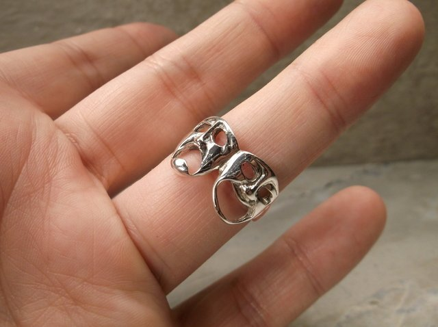 New Sterling Comedy Tragedy Mask Ring 10 - 2