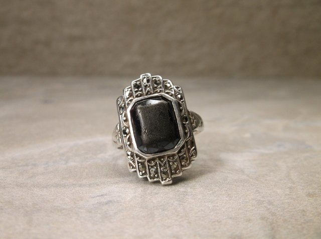 Sterling Silver Onyx Ring 5.5