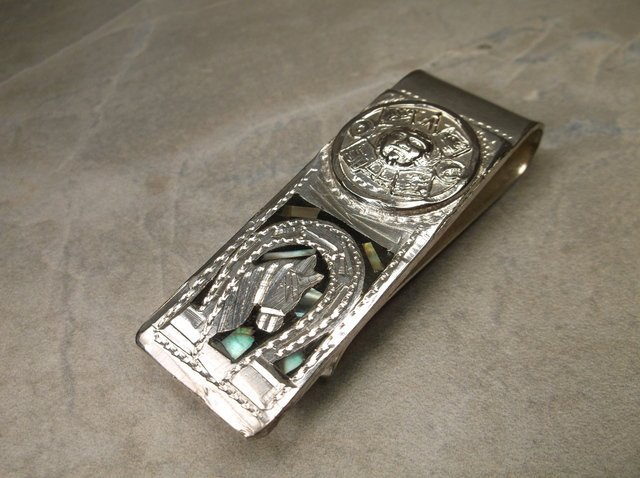 Gorgeous Southwestern Abalone Horse Money Clip