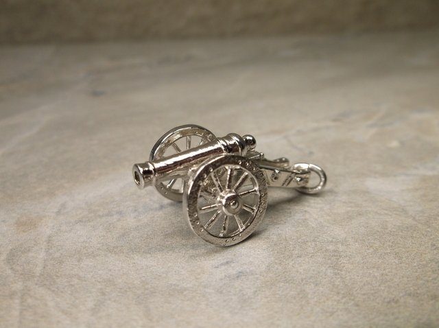 Stunning Antique Wells Sterling Cannon Pendant