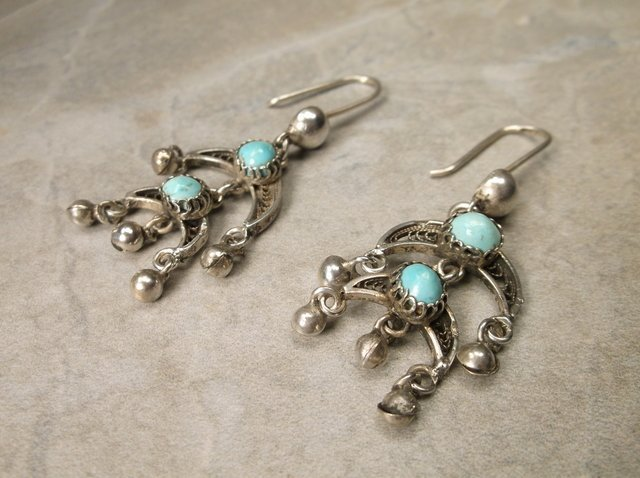 Gorg Antique Navajo Sterling Turquoise Earrings