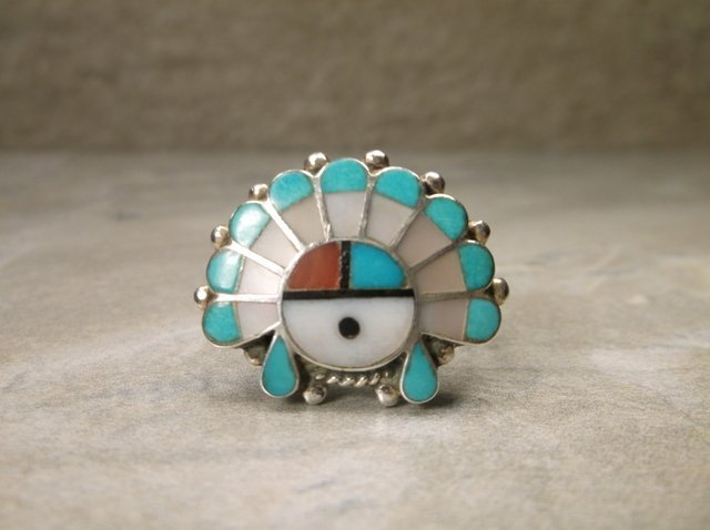 Stunning Zuni Sterling Silver Headdress Ring 8.5
