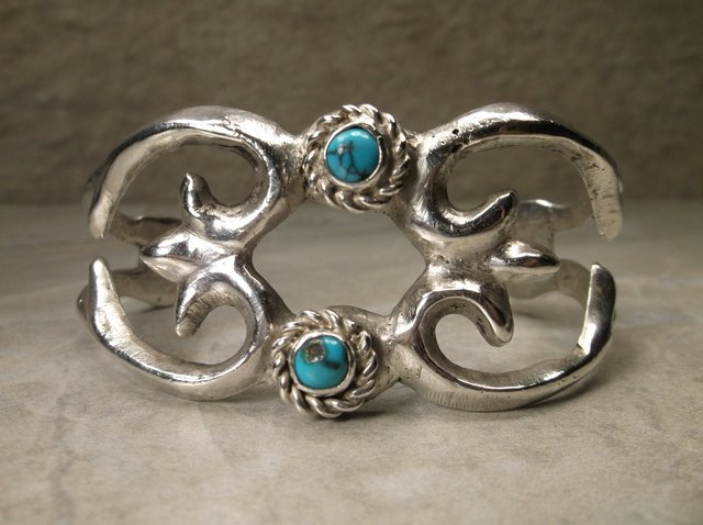 Sup Heavy Navajo Sterling Turquoise Cuff Bracelet