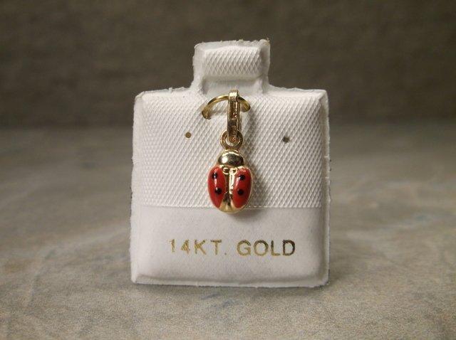 Gorgeous 14kt Gold Enameled Ladybug Pendant