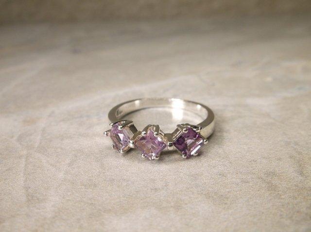New Sterling Silver Gen Amethyst Ring 8.25