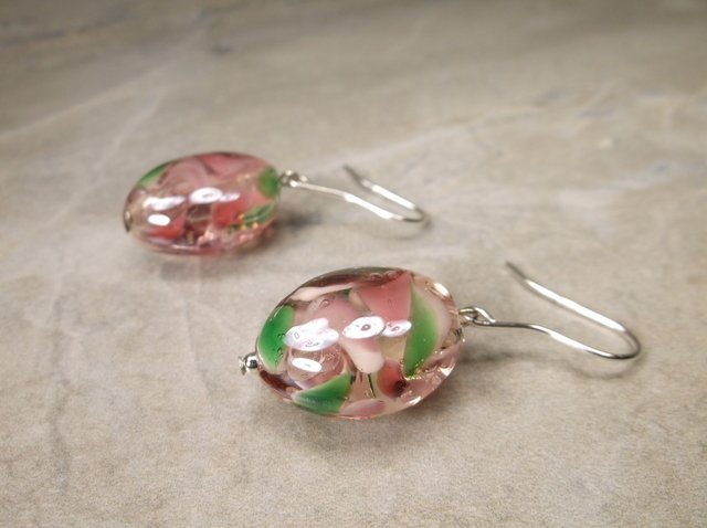Gorgeous Sterling Silver Art Glass Earrings