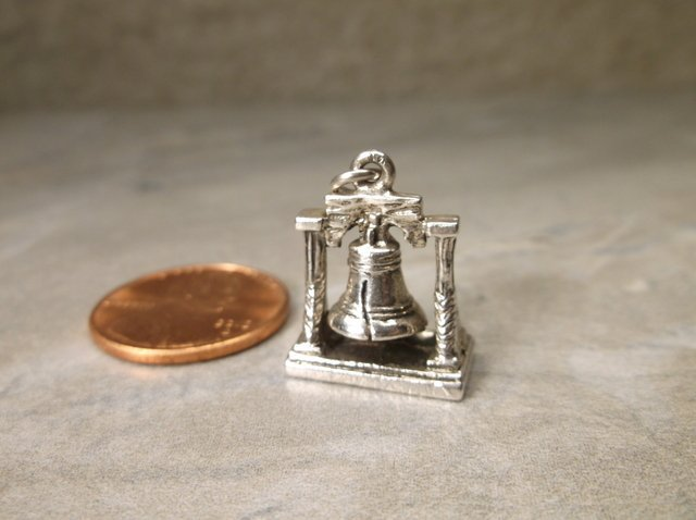 Gorgeous Antique Wells Sterling Liberty Bell Charm