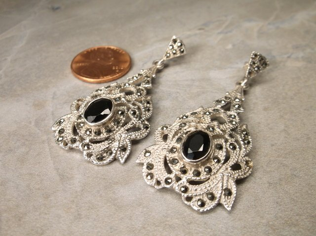Gorgeous Heavy Sterling Silver Onyx Earrings