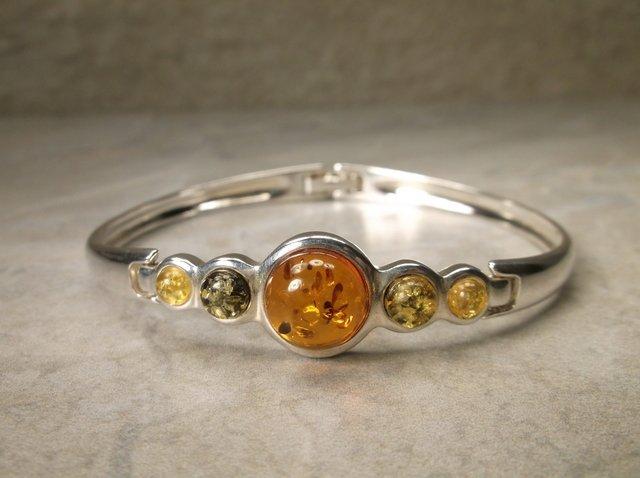 Stunning Sterling Silver Amber Bracelet Signed