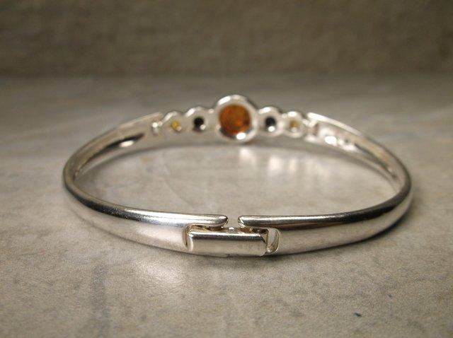Stunning Sterling Silver Amber Bracelet Signed - 2
