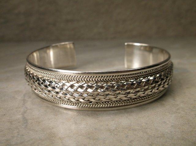 Stunning Heavy Sterling Silver Cuff Bracelet