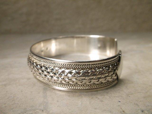 Stunning Heavy Sterling Silver Cuff Bracelet - 2