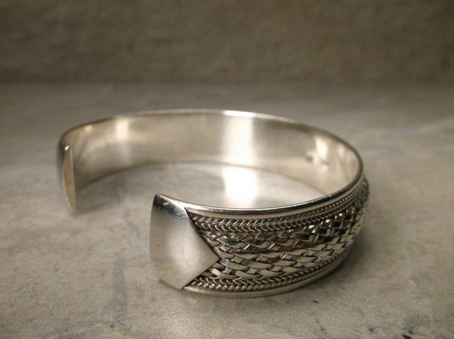 Stunning Heavy Sterling Silver Cuff Bracelet - 3