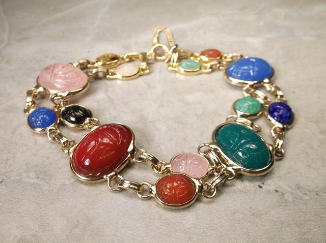 Stunn Gold Over Sterling Gemstone Scarab Bracelet