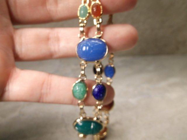 Stunn Gold Over Sterling Gemstone Scarab Bracelet - 2