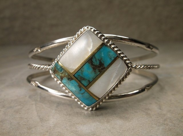 Gorg Navajo Sterling Turquoise MOP Cuff Bracelet
