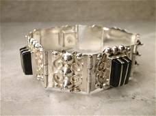 1940s Taxco Sterling Onyx Panel Bracelet EDR