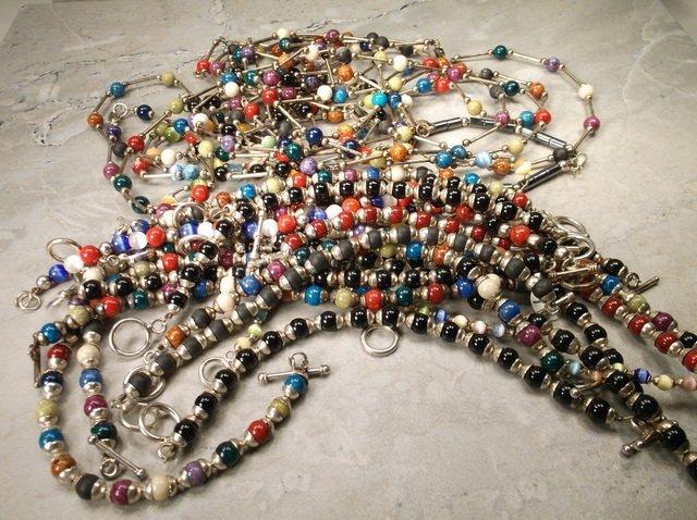 Huge Sterling Gemstone Bracelet Necklace Lot 376g