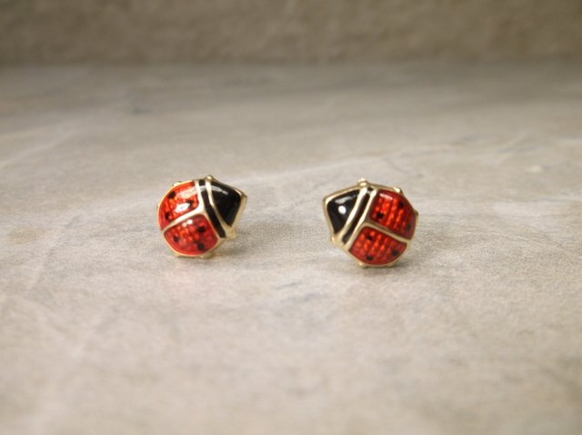 Gorgeous Large 14kt Gold Ladybug Earrings
