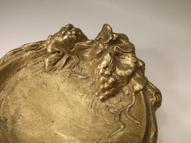 Antique Art Nouveau Heavy Brass Ashtray - 2