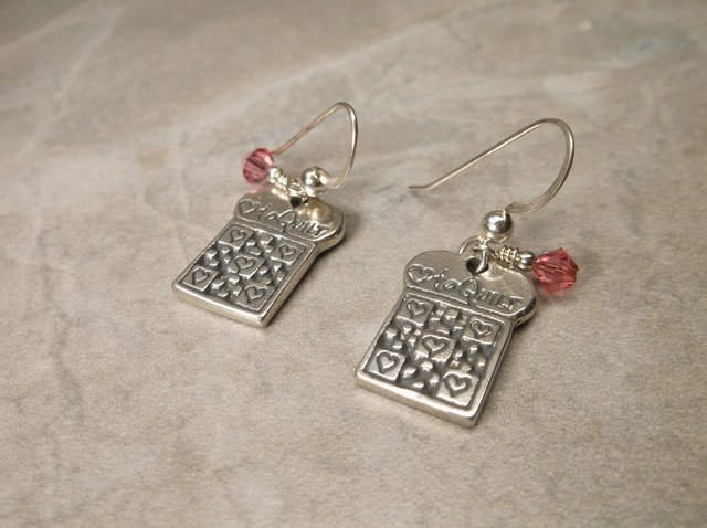 Gorgeous Sterling I Love to Quilt Earrings
