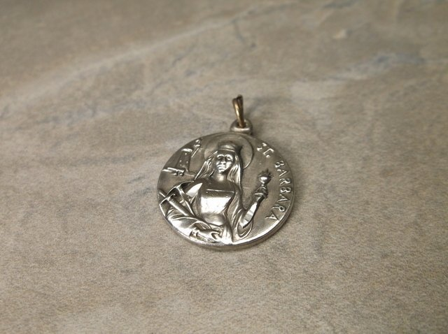 Gorgeous Antique Sterling St Barbara Pendant